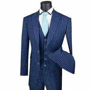 VINCI Men's Blue Gangster Stripe 3 Piece 2 Button Classic Fit Suit NEW