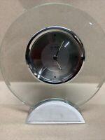 DANBURY Clock Co. Quartz Glass Table Clock Desk Shelf Brushed Silver Base, Round