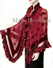 Burgundy Shawl Scarf Wrap Silk Burnout Velvet Triangle Ruffles Maya Matazaro