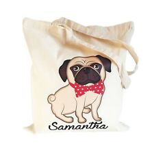 Pug Dog Cotton Shopping Tote Bag Ladies Girls Personalised