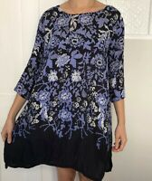 Masai Women Dress Size Small Blue Black 3/4 Sleeve Knee Length Light Oversize