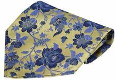 David Van Hagen Mens Floral Patterned Silk Handkerchief - Gold/Blue