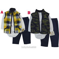 New Baby Boys 3 pcs Vest, long sleeve Shirt, Pants outfit Size 0 3 6 9 12 months