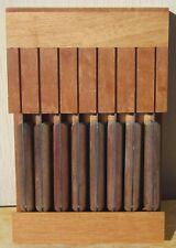 Set of 8 TRAMONTINA Porterhouse SERRATED STEAK KNIVES w/ WOODEN WALL RACK Brazil