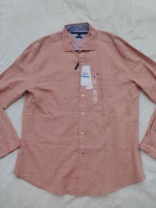 NWT MENS TOMMY HILFIGER CUSTOM FIT LONG SLEEVE BUTTONED SHIRT $69 KETCHUP