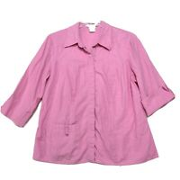 Versailles Linen Rayon Snap Front Tunic Blouse Smock Womens 1X Pink 3/4 Sleeve