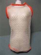 Barbie Doll 1970 Dramatic Living #1147 SwimSuit Orange Trim White Mesh