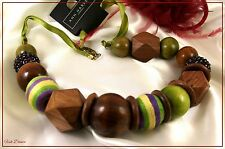 ANN HARVEY. LOVELY CHUNKY WOODEN BEAD RIBBON THONG NECKLACE. TICKET PRICE £20.
