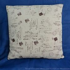 US Seller-vintage chic handwritings vintage retro cotton linen cushion cover
