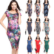 Women Sexy Summer Floral Printing Party Cocktail Business Wiggle Pencil Dress