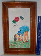 LP16 (K) Self Taught Folk Artist E B. OTT Underware Girl with Puppy Dog Painting