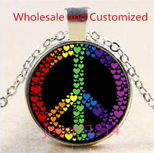 Heart Peace symbol Cabochon Tibetan silver Glass Chain Pendant Necklace #4608