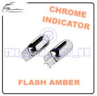 2x Chrome Indicator Bulbs T20 W21W Side Repeater Flash Amber