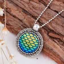 UK MERMAID SCALE NECKLACE Silver Charm Jewellery Gift Idea Ariel Dragon Egg Girl