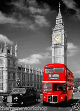 LONDON RED BUS AND TAXI - 3D MOVING PICTURE POSTER 300mm X 400mm (NEW)