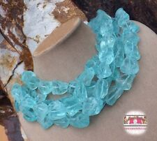 Turquoise AQUA QUARTZ 4 STRAND HUGE ROUGH LIGHT BLUE BEADS STATEMENT NECKLACE