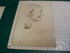 vintage Drawing:  Greek sculpture: signed K S BOWERS 1900; FEMALE PROFILE