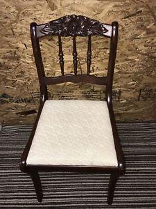 Antique/Vtg Carved ROSE Mahogany Wood Dining Accent Side Desk Chair VGUC