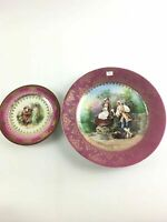 "Antique Royal Vienna Hand-Painted Plates in Gold Accent  6"" And 10"""