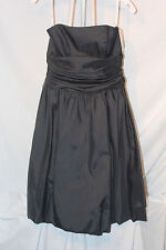 NWT Davids Bridal 81255 Bridesmaid Dress Black Taffeta Strapless Knee Length 6