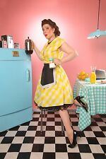 ADORABLE ROCKABILLY PINUP GIRL 50s STYLE YELLOW WHITE GINGHAM SWING DRESS XL!