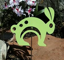 Bunny Spring Easter -Lime Green metal animal garden yard art w/ detach stake