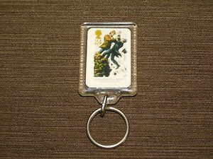 """VINTAGE OLD CAR KEY CHAIN PLASTIC SHERLOCK HOLMES & MORIARTY """"THE FINAL PROBLEM"""""""