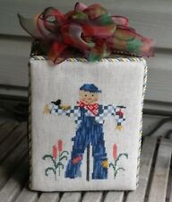 Finished Completed Fall Halloween Thanksgiving Cross Stitch stand up Scarecrow
