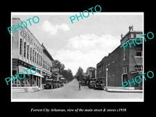 OLD 8x6 HISTORIC PHOTO OF FORREST CITY ARKANSAS THE MAIN ST & STORES c1930