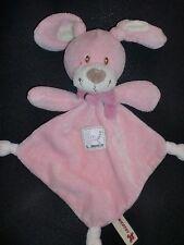 doudou plat lapin rose triangle et blanc avec écharpe NICOTOY
