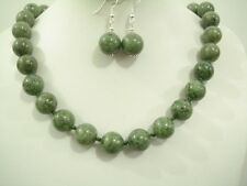 Necklace & Earrings Russian jade Round Beads 15mm 18""