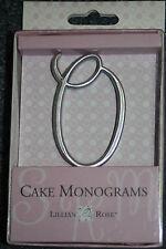 "Letter O Silver 2 1/2"" Monogram 25th Anniversary Wedding Cake Topper Pick"