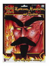 Devil Set Fake Black Moustache Eyebrows & Goatee Combo Lucifer Self Adhesive