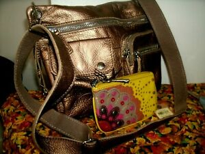 Fossil Sutter Very Pretty Spacious Metallic Gold Crossbody w/Fossil Wallet EUC!