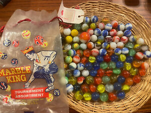 Vintage Marble King Tournament Assortment Bag with 110 Mixed Marbles W/Tag