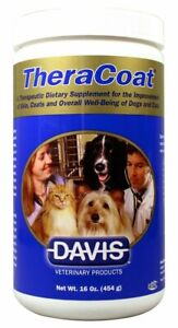 Davis TheraCoat Pet Dietary Supplement Powder For  Skin & Coat Dogs & Cats 16oz