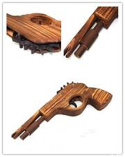BU AU Classical Rubber Band Launcher Wooden  Hand Pistol Gun Shooting Toy Gifts