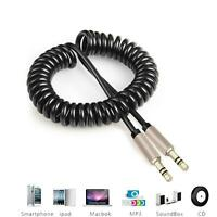 AUX CABLE Stereo Jack Coiled 3.5mm Lead Male Audio Gold Plated 1m