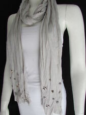 Womengray Scarf With Silver Metal Unique Stars Studs Casual Fashion Design Flowy
