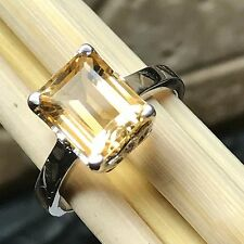 Natural 2,5ct Golden Citrine 925 Solid Sterling Silver Emerald Cut Ring sz 7.75