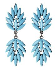 Amrita Singh DROP EARRINGS Beaded Statement Gunmetal TURQUOISE Tone, NEW $60