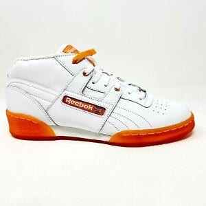 Reebok Workout Mid Ice White Orange Training Sneakers Mens Size 8.5 V48281