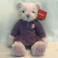 Fao Schwarz Purple Stuffed Teddy Bear - Purple Dress - With All Tags