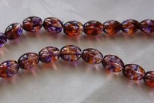 30 Clear/Purple/Topaz 11x8mm Oval Glass Beads #g3721 Combine Post-See Listing