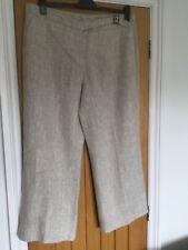 Hobbs heavy linen wide leg trousers size 18 Short . Stone Beige. Slit pockets.