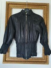 Gucci Tom Ford Black Ruched Leather Jacket Size Small Uk 6 8