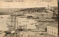 Constantinople La Corne d'or postcard antique harbour scene Turkey