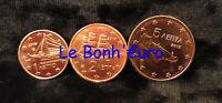 Monnaie 1,2,5 centimes cent cts euro Grèce 2015, neuves du rouleau, UNC
