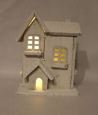 decorazione di Natale -26 cm BIANCO LEGNO RUSTICO 5 LED LUCI CHIESA / CASA