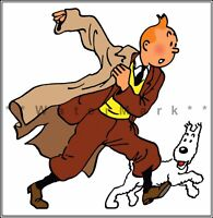 Pop The Champagne Tintin and Snowy Vintage Poster Print Art Cartoon Boy and Dog